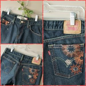LEVIS 518 SL Boot Cut w/Embroidered Floral Detail!